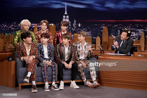 Band BTS during an interview with host Jimmy Fallon on September 25 2018