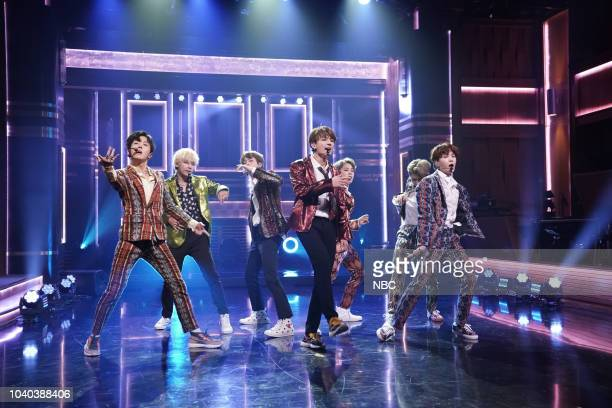 "Episode 0931 -- Pictured: Band BTS performs ""I'm Fine"" on September 25, 2018 --"