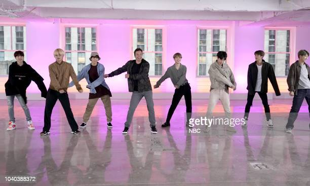 Host Jimmy Fallon with BTS during Fortnite Dance Challenge September 25 2018