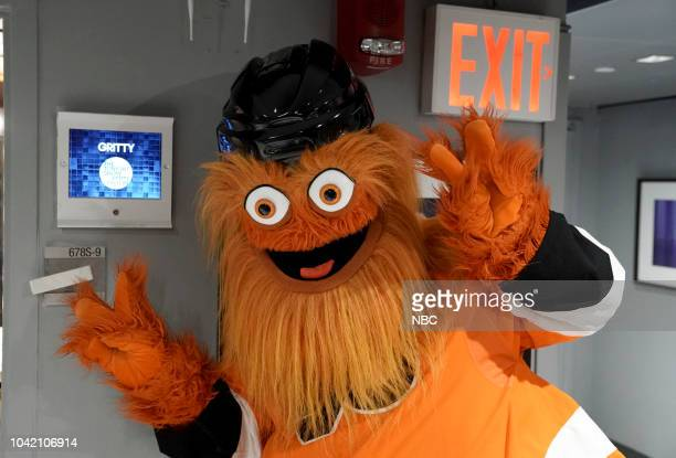 Philadelphia Flyers mascot Gritty backstage on September 27 2018