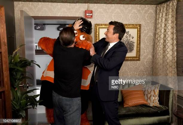 Ricky Gervais Philadelphia Flies Mascot Gritty Host Jimmy Fallon during the Cold Open on September 27 2018