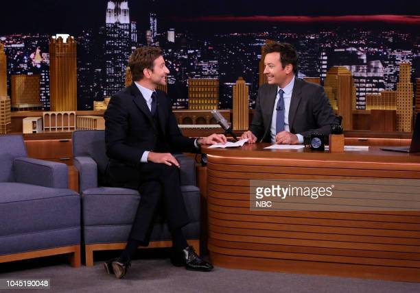 Actor Bradley Cooper during an interview with host Jimmy Fallon on October 3 2018