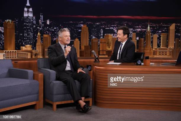 Actor Alec Baldwin during an interview with host Jimmy Fallon on October 12 2018