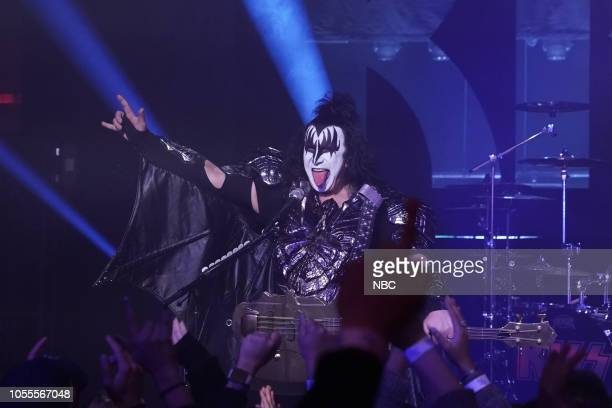 Gene Simmons of Musical Guest KISS performs on October 30 2018