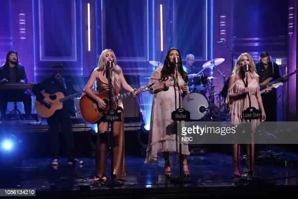 Musical guests Ashley Monroe Angaleena Presley Miranda Lambert of Pistol Annies performs on November 1 2018