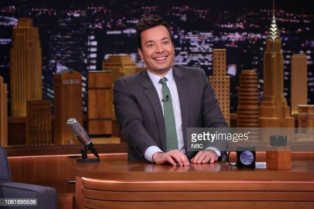 Host Jimmy Fallon arrives at his desk on November 14 2018