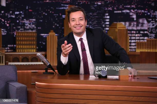 Episode 0963 -- Pictured: Host Jimmy Fallon arrives to his desk on November 16, 2018 --