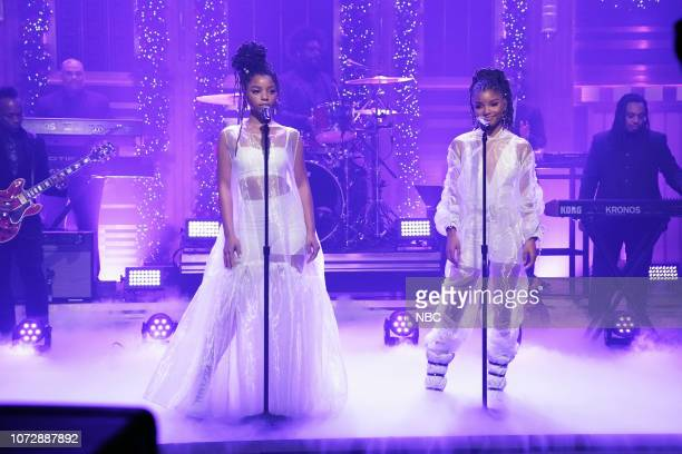 Musical guest Chloe X Halle performs with The Roots on December 13 2018