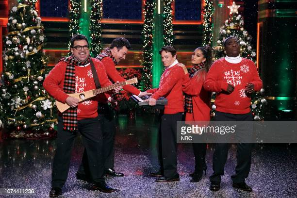 Horatio Sanz host Jimmy Fallon Chris Kattan musical guest Ariana Grande and Tracy Morgan during I Wish It Was Christmas Today on December 18 2018
