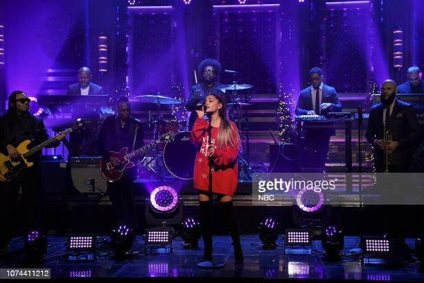 Musical guest Ariana Grande performs with The Roots on December 18 2018
