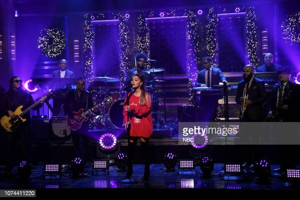 Episode 0984 -- Pictured: Musical guest Ariana Grande performs with The Roots on December 18, 2018 --