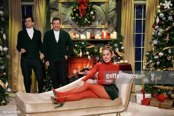 Musician Mark Ronson host Jimmy Fallon and singer Miley Cyrus during Santa Baby on December 20 2018