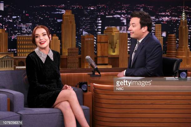 Actress Lindsay Lohan during an interview with host Jimmy Fallon on January 7 2019