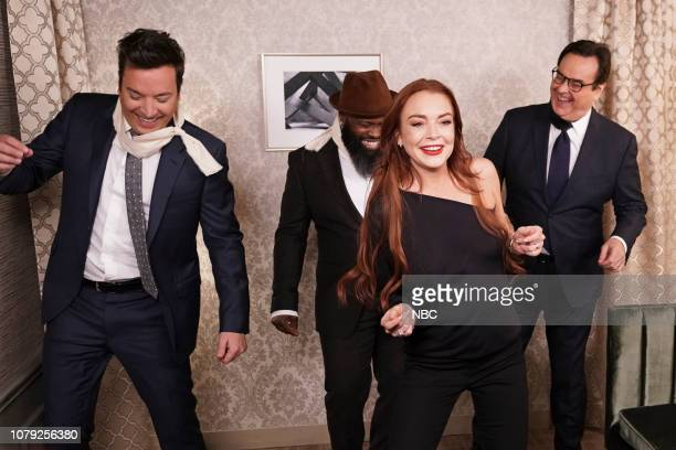 Host Jimmy Fallon Tariq 'Black Thought' Trotter actress Lindsay Lohan and announcer Steve Higgins during the 'Bird Box Cold Open' on January 7 2019