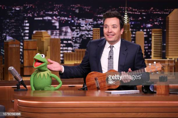 Kermit The Frog and host Jimmy Fallon during Google Doodle on January 7 2019