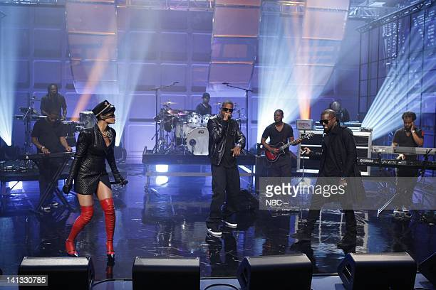 SHOW Episode 1 Air Date Pictured Musical guest Rihanna JayZ Kanye West perform on September 14 2009 Photo by Justin Lubin/NBCU Photo Bank