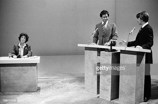 LIVE Episode 1 Air Date Pictured Lily Tomlin as Ruth Clusen Chevy Chase as Gerald Ford Dan Aykroyd as Jimmy Carter during the Debate '76 skit on...