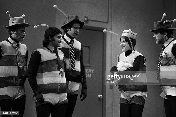 LIVE Episode 1 Air Date Pictured George Coe as bee John Belushi as bee Chevy Chase as bee Gilda Radner as bee Michael O'Donoghue as bee during the...