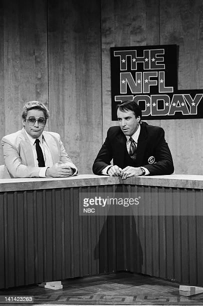 LIVE Episode 1 Air Date Pictured Phil Hartman as Jimmy 'The Greek' Snyder Kevin Nealon as Brent Musburger during 'The NFL Today' skit on October 17...