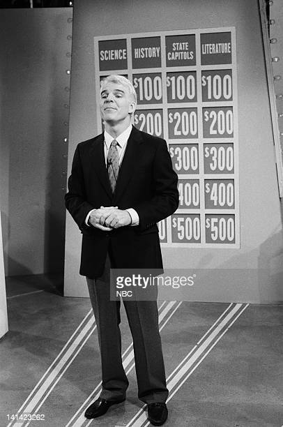 LIVE Episode 1 Air Date Pictured Steve Martin as Host Bob Albert during the 'Common Knowledge' skit on October 17 1987 Photo by Al Levine/NBCU Photo...