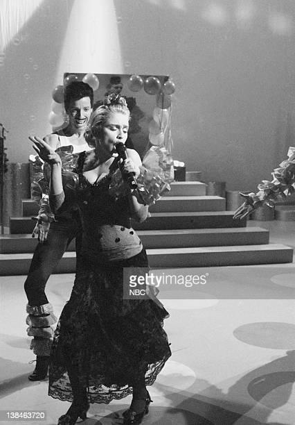 LIVE Episode 1 Air Date Pictured Anthony Michael Hall as Miguel Madonna as Marika during 'El Spectaculare De Marika' skit on November 9 1985