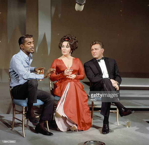 JR SHOW Episode 1 Aired Pictured Host Sammy Davis Jr interviews actors Elizabeth Taylor and Richard Burton on January 7 1966