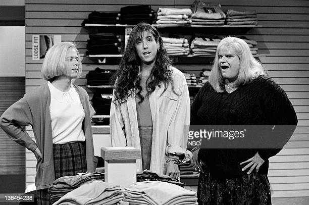 LIVE Episode 1 Aired Pictured David Spade as Christy Henderson Adam Sandler as Lucy Brawn and Chris Farley as Cindy Crawford during 'The Gap' skit on...