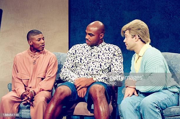LIVE Episode 1 Aired Pictured Muggsy Bogues as Himself Charles Barkley as Himself and Al Franken as Stuart Smalley during the Daily Affirmation skit...