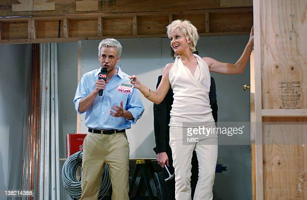 LIVE Episode 1 Aired Pictured Seth Meyers as Anderson Cooper Amy Poehler as Sharon Stone during 'Anderson Cooper 360' skit on October 1 2005