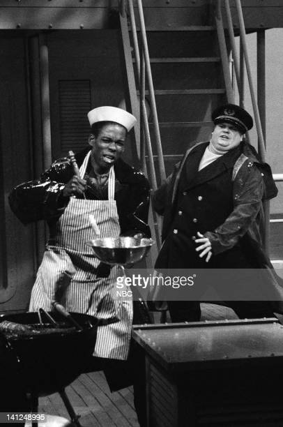 Chris Rock as Young Pop Chris Farley as Captain during the 'Tales From The Barbecue' skit on September 28 1991 Photo by Raymond Bonar/NBCU Photo Bank