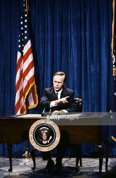 Dana Carvey as President George Bush during the 'White House Report' skit on September 30 1989 Photo by NBC/NBCU Photo Bank