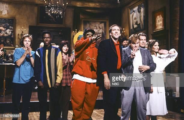 Episode 1 -- Pictured: Dana Carvey, Chris Rock, Julia Sweeney, Bobby Brown, Nicolas Cage, Chris Farley, Phil Hartman, Jan Hooks on September 26, 1992...