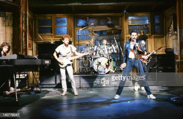 John Deacon Roger Taylor Freddie Mercury Musical guest Queen performs on September 25 1982 Photo by Al Levine/NBC/NBCU Photo Bank