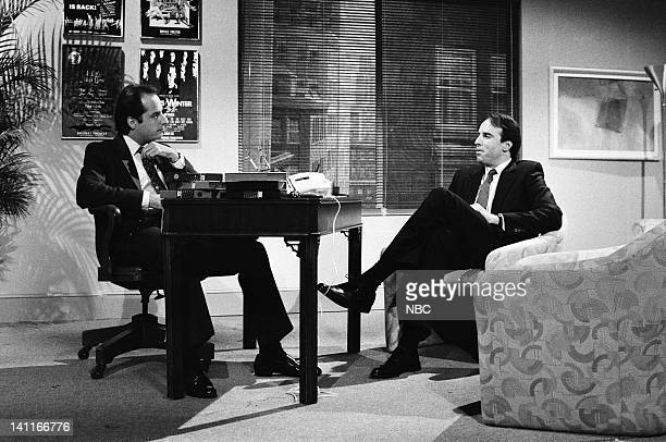 Jon Lovitz as Mr Subliminal Kevin Nealon during the 'Mr Subliminal' skit on October 11 1986 Photo by Reggie Lewis/NBC/NBCU Photo Bank