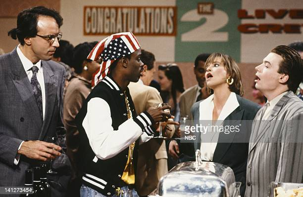 Kevin Nealon as Scott Chris Rock as Luther Campbell Jan Hooks as Eileen Mike Myers as Richard during '2 Live Crew Party' skit on September 29 1990...