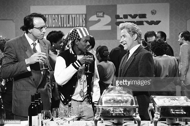 """Episode 1 -- Pictured: Kevin Nealon as Scott, Chris Rock as Luther Campbell, Phil Hartman as Victor LaCroix during """"2 Live Crew Party"""" skit on..."""