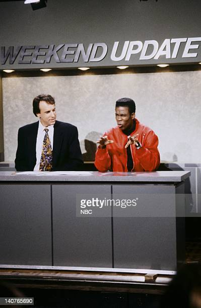 Kevin Nealon Chris Rock during 'Weekend Update' on September 26 1992 Photo by Al Levine/NBCU Photo Bank