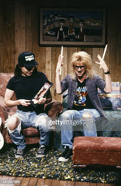 Mike Myers as Wayne Campbell Dana Carvey as Garth Algar during the 'Wayne's World' skit on September 28 1991 Photo by Raymond Bonar/NBCU Photo Bank