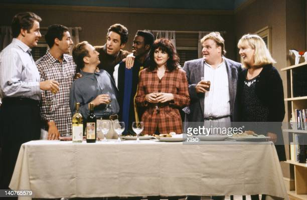 Phil Hartman Adam Sandler Rob Schneider as Mr Casual Sex Kevin Nealon Chris Rock Julia Sweeney Chris Farley Melanie Hutsell during the 'Mr Casual...