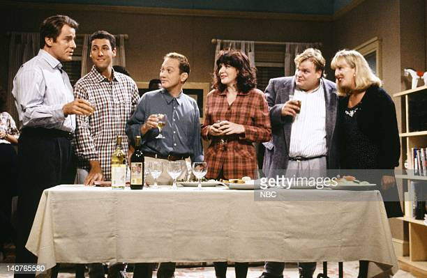 Phil Hartman Adam Sandler Rob Schneider as Mr Casual Sex Julia Sweeney Chris Farley Melanie Hutsell during the 'Mr Casual Sex' skit on September 26...