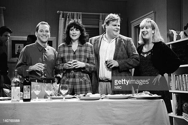 Rob Schneider as Mr Casual Sex Julia Sweeney Chris Farley Melanie Hutsell during the 'Mr Casual Sex' skit on September 26 1992 Photo by Al...