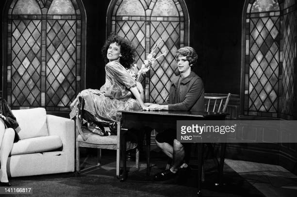 Sigourney Weaver as Zuul Dana Carvey as Chuch Lady during the 'Church Chat' skit on October 11 1986 Photo by Reggie Lewis/NBC/NBCU Photo Bank