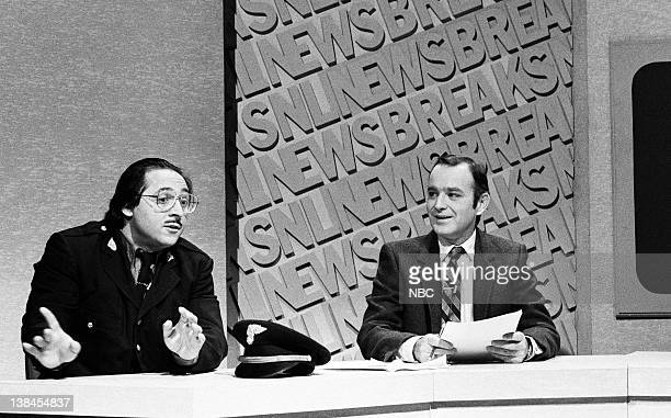 LIVE Episode 10 Aired Pictured Tony Rosato as Carmen Forgione and Brian DoyleMurphy as himself during the SNL Newsbreak skit on January 30 1982