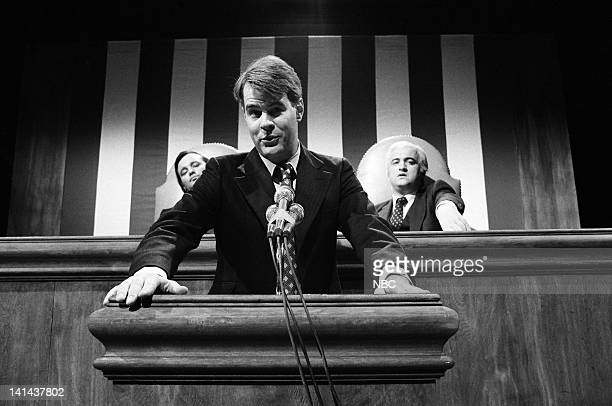 Episode 10 -- Pictured: Bill Murray as Walter Mondale, Dan Aykroyd as President Jimmy Carter, and John Belushi as Tip O'Neil during the 'State of the...