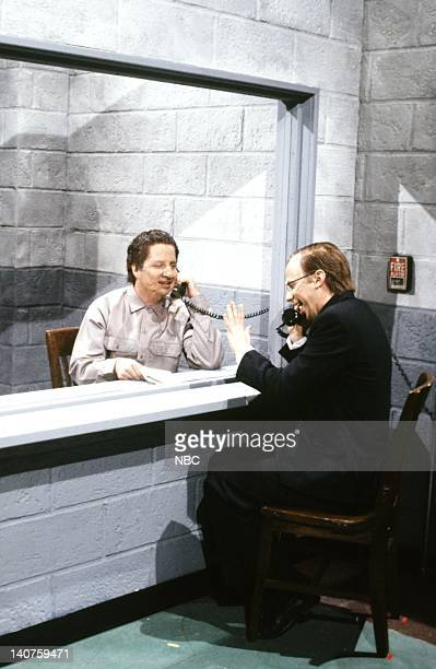 Jon Lovitz as Manuel Noriega Dana Carvey as President George H W Bush during the 'Noriega's Plan' skit on January 13 1990 Photo by NBC/NBCU Photo Bank