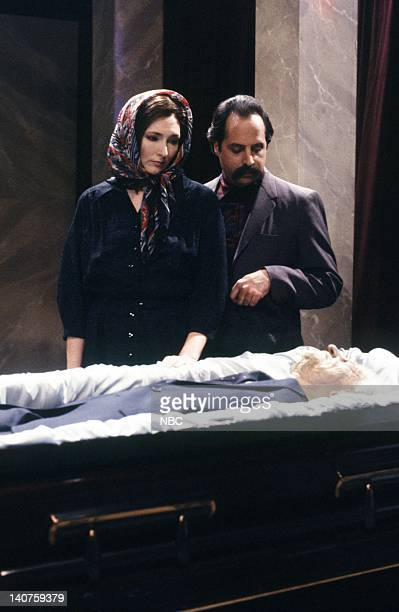 Nora Dunn Jon Lovitz as mourners during 'Ceausescu's Wake' skit on January 13 1990 Photo by NBC/NBCU Photo Bank