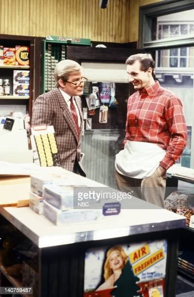 Phil Hartman as customer Ed O'Neill as shopkeeper during the 'Penis References' skit on January 13 1990 Photo by NBC/NBCU Photo Bank