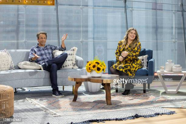 Episode 1002 -- Pictured: Seth Meyers, Kelly Clarkson --
