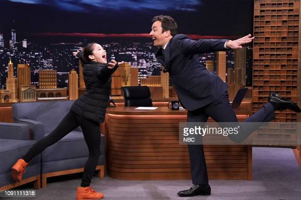 Figure skater Alysa Liu during an interview with host Jimmy Fallon on January 29 2019