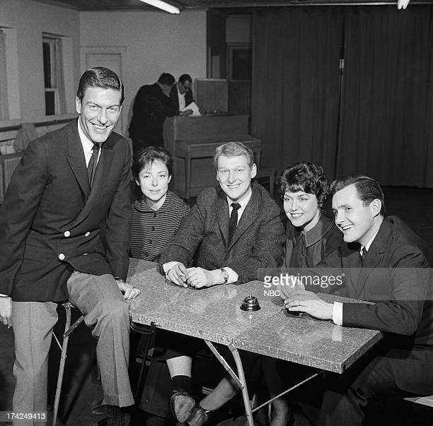 Host Dick Van Dyke panelists Elaine May Mike Nichols Dorothy Loudon guest panelist Orson Bean during rehearsal for the first show